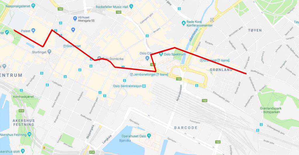 Årets paraderute. Kart: Google Maps